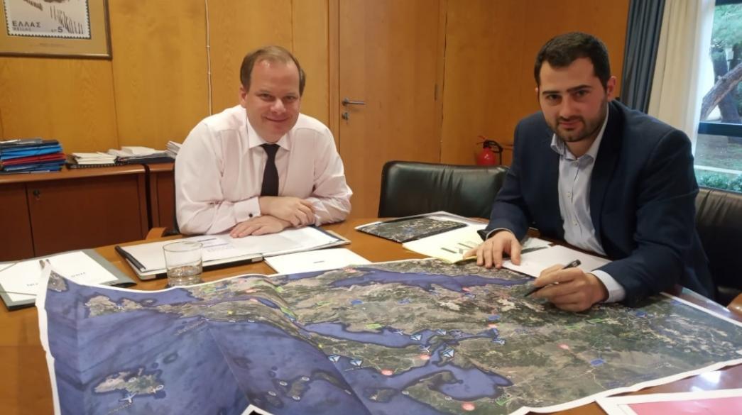 Αποτέλεσμα εικόνας για Συνάντηση Περιφερειάρχη Στερεάς Φ. Σπανού με τον Υπουργό Υποδομών  Κ. Καραμανλή